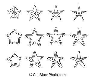 Collection of black icons for your business stars.