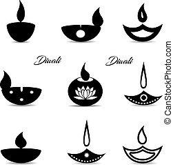 Collection of black icons, Islamic oil lamp symbol. Decorations for the holiday of Diwali. On a white background