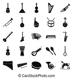 Collection of black musical instruments