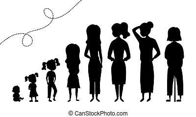 Collection of Black Silhouettes Of Female Age. Development Of Women From The Child To the Elderly. Silhouettes Female Characters Isolated On the White Background. Flat style. Vector illustration