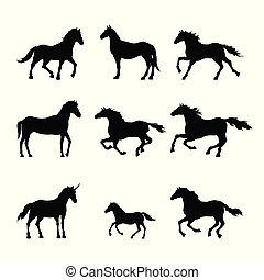 Collection of black silhouettes of horses. Isolated detailed drawing of mustang on white background. Side view. Western landscape