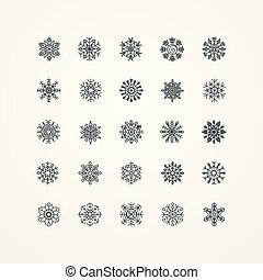 Collection of black snowflakes on a white background, vector illustration