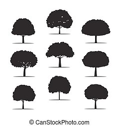 Collection of Black Trees. Vector icons.