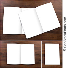 Collection of Blank catalog, brochure, mock up on wood background