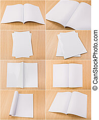 Collection of Blank catalog, magazines, book mock up on wood...