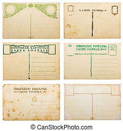 Collection of blank vintage postcards, isolated on white