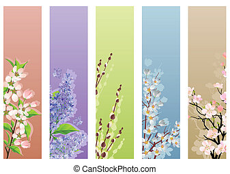 Collection of blossoming branches on different backgrounds