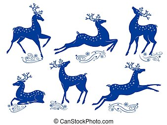 Collection of blue deer