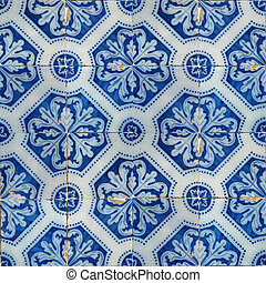 Collection of blue patterns tiles