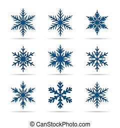 Collection of Blue Snowflakes.
