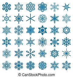 collection of blue snowflakes isolated on white background, vector