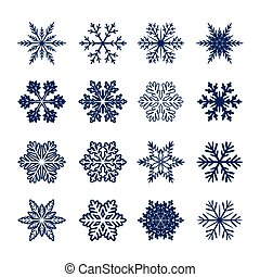 Collection of blue Snowflakes. Vector Illustration