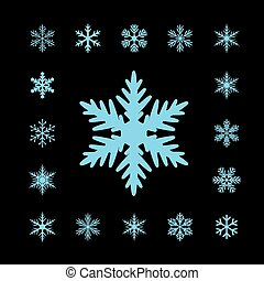Collection of Blue Vector Snowflakes.