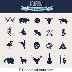 Collection of Bohemian, Tribal objects, elements and icons