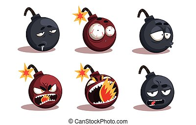 Collection of Bomb Cartoon Characters with Funny Faces and Various Emotions Vector Illustration on White Background