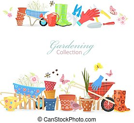 collection of borders with colorful gardening tools for your des