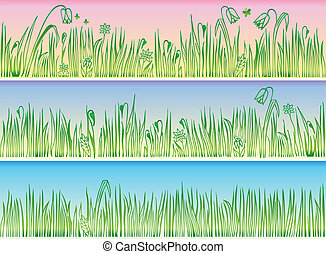 Collection of borders with grass