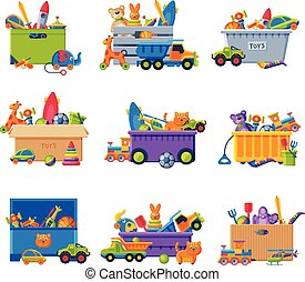 Collection of Boxes with Various Toys, Plastic and Cardboard Containers with Baby Colorful Playthings Vector Illustration