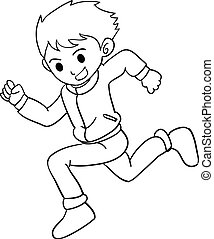 Collection of boy running character