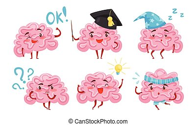 Collection of Brain Cartoon Character with Funny Face in Different Situations Vector Illustration