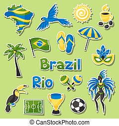 Collection of Brazil sticker objects and cultural symbols