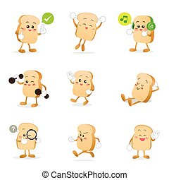 Collection of bread cartoon vector illustration eps 10