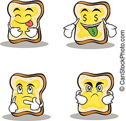 Collection of bread character cartoon set design