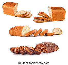 Collection of bread on a white background