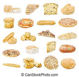 bread, pizza and sweets - collection of bread, pizza and ...