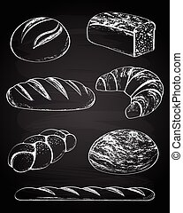 Collection of breads on the chalkboard background