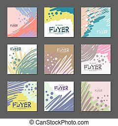 Collection of bright abstract cards for your design. Hand-drawn. Vector