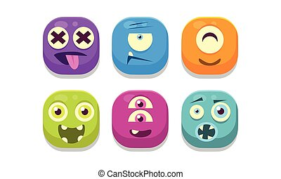 Collection of bright buttons emoticons with different emotions, emoji monsters vector Illustration