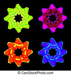 Collection of bright neon logos in the form of a flower star and ornament.