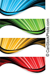 Collection of bright wavy banners