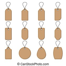 Collection of brown price tag on white background