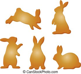 Collection of brown rabbits, silhouette-cartoon on white background,