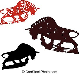 Collection of Bulls or Taurus, for decoration, silhouette on white background,