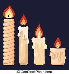 Collection of Burning Candles from Paraffin Wax for Your Design. Vector Illustration isolated on dark background. Cartoon Style. Holiday Elements.
