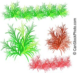 Collection of bushes, cartoon on white background.