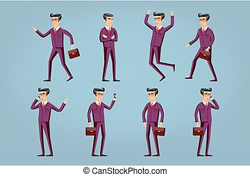 Collection of business people illustrations in different poses