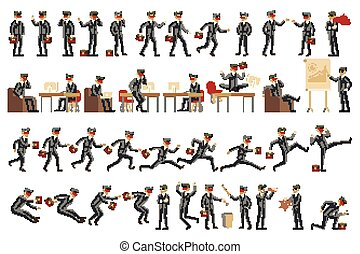 Collection of business people illustrations in different poses vector