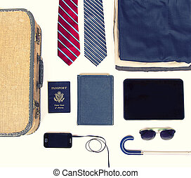 collection of business travel items