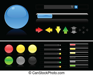 Collection of buttons for web design on a black background. A vector illustration