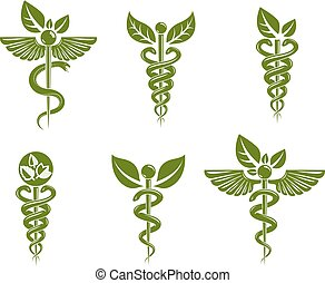 Collection of Caduceus illustrations composed with poisonous...