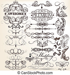 Collection of calligraphic decorati - Vector set of...