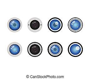 Collection of camera lens video surveillance template vector