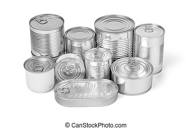 collection of cans isolated on a white background