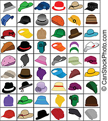 collection of caps and hats