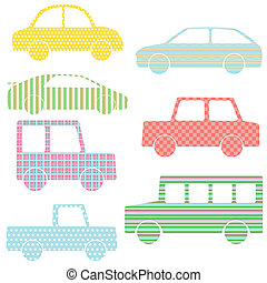 Collection of car silhouettes with simple patterns