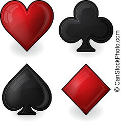 Collection of card suit icons in black and red - Vector...